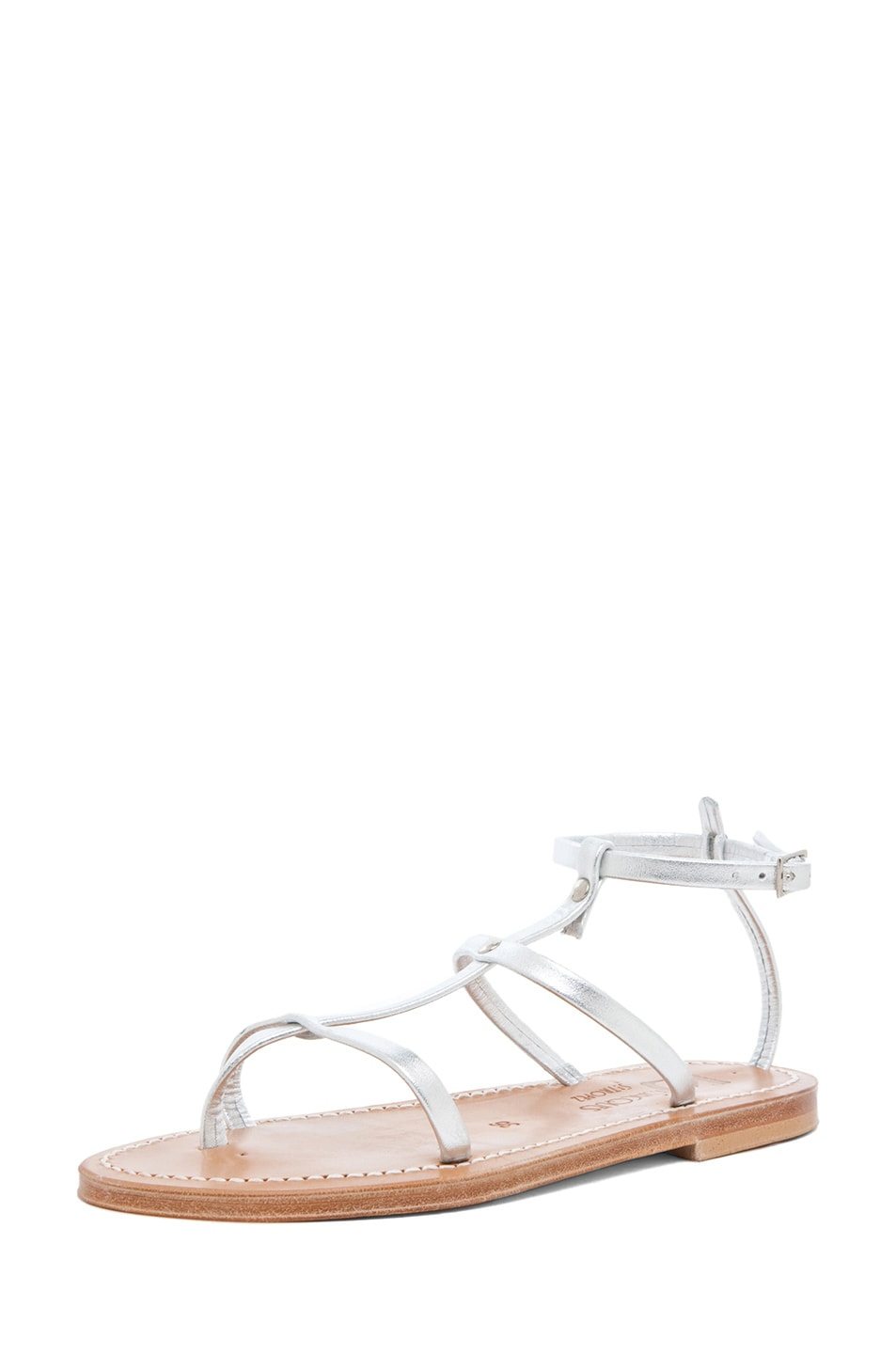 Image 2 of K Jacques Gina Calfskin Gladiator Sandal in Silver