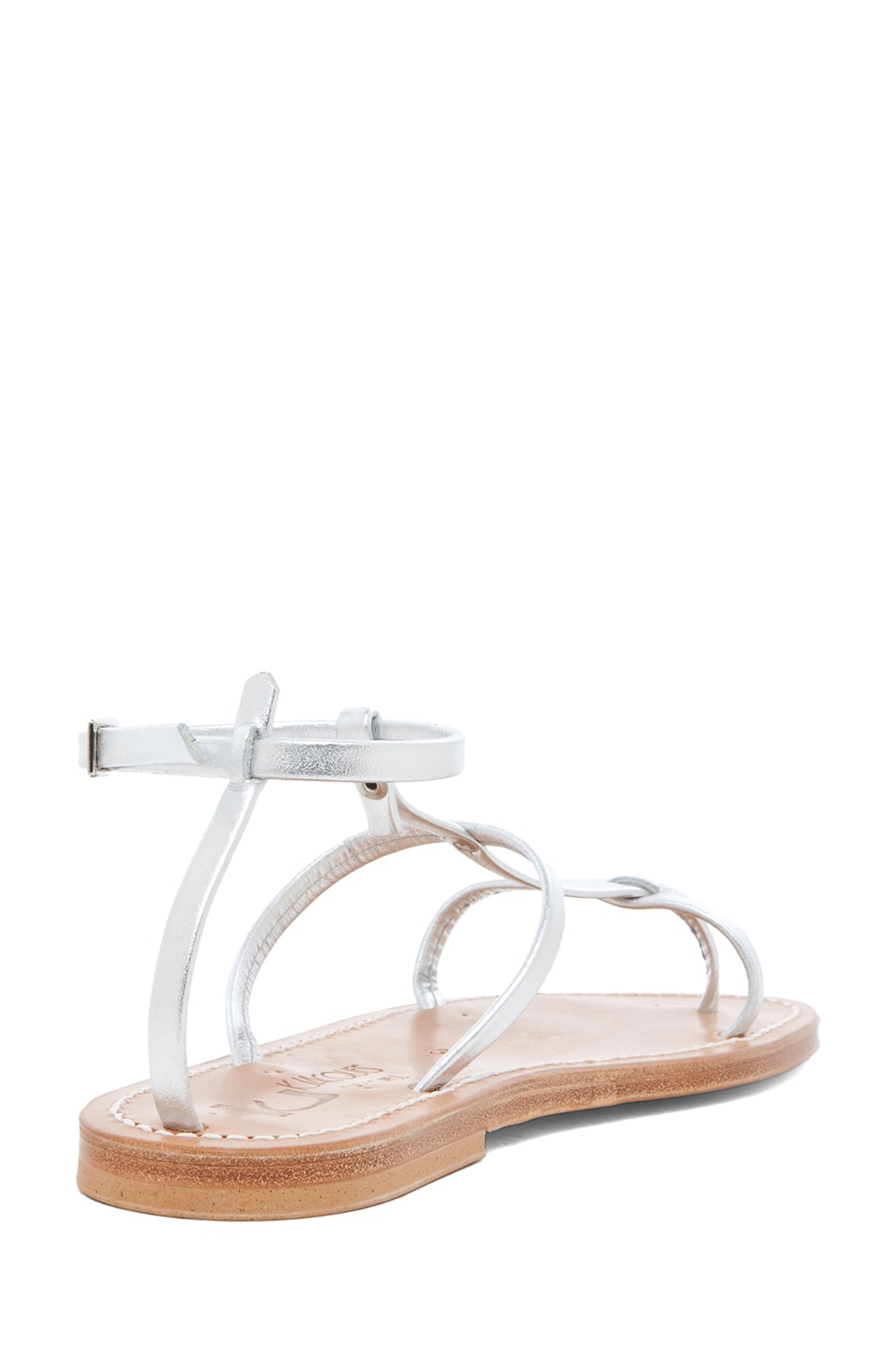 Image 3 of K Jacques Gina Calfskin Gladiator Sandal in Silver