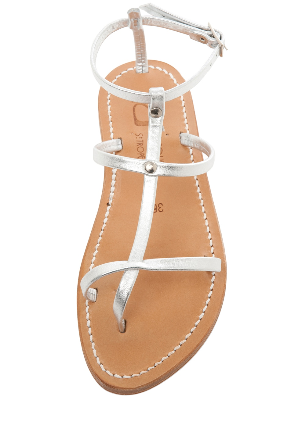 Image 4 of K Jacques Gina Calfskin Gladiator Sandal in Silver