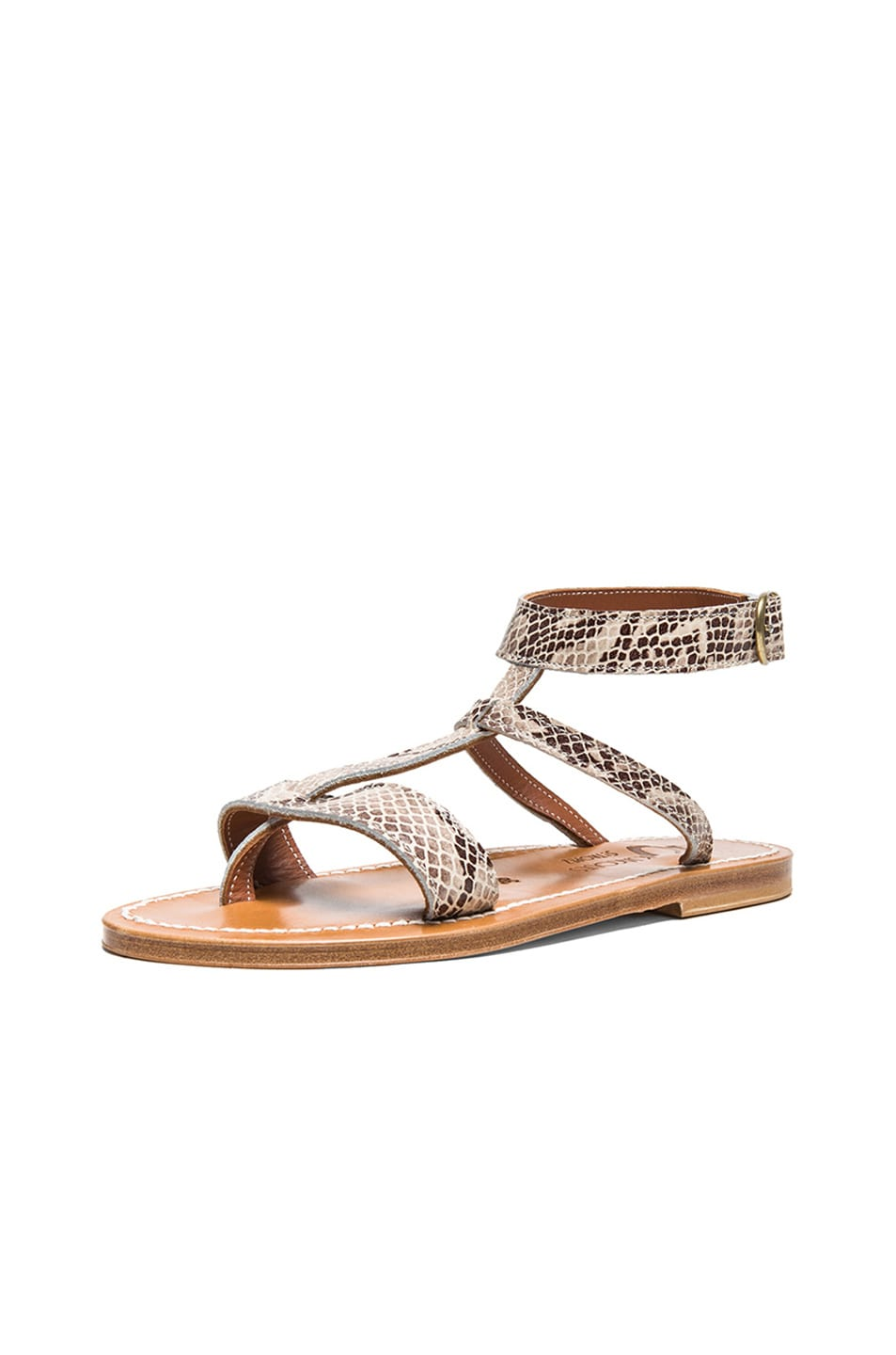 Image 2 of K Jacques Corvette Snakeskin Embossed Leather Sandals in Duna