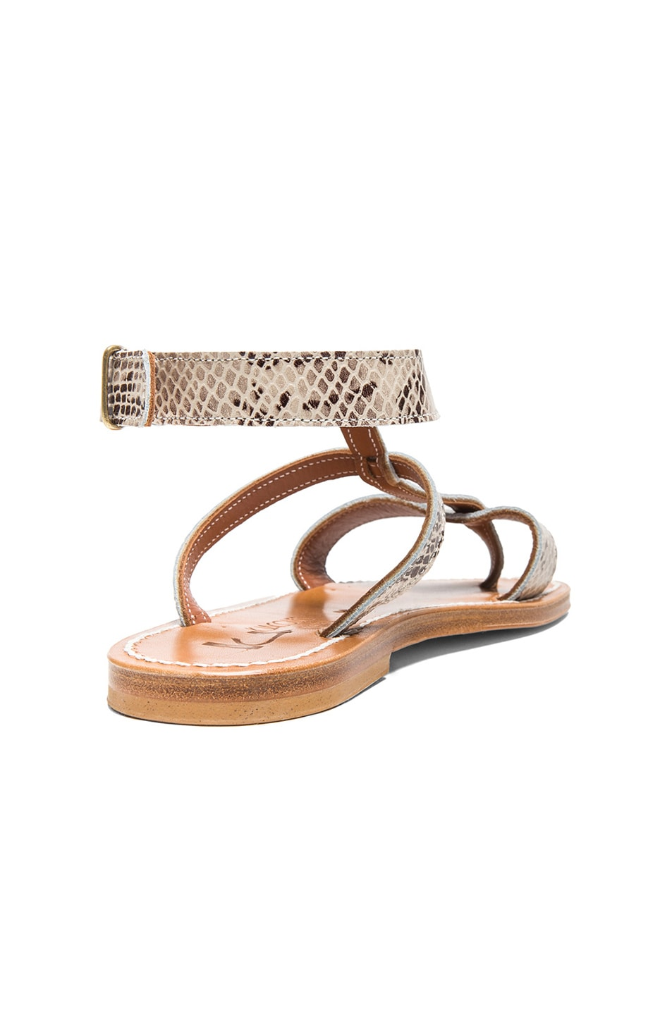 Image 3 of K Jacques Corvette Snakeskin Embossed Leather Sandals in Duna
