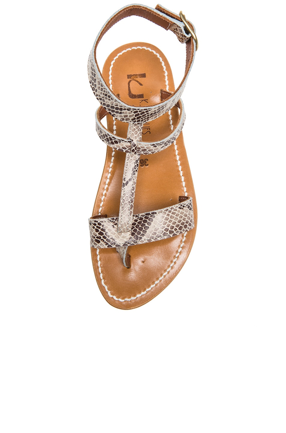 Image 4 of K Jacques Corvette Snakeskin Embossed Leather Sandals in Duna