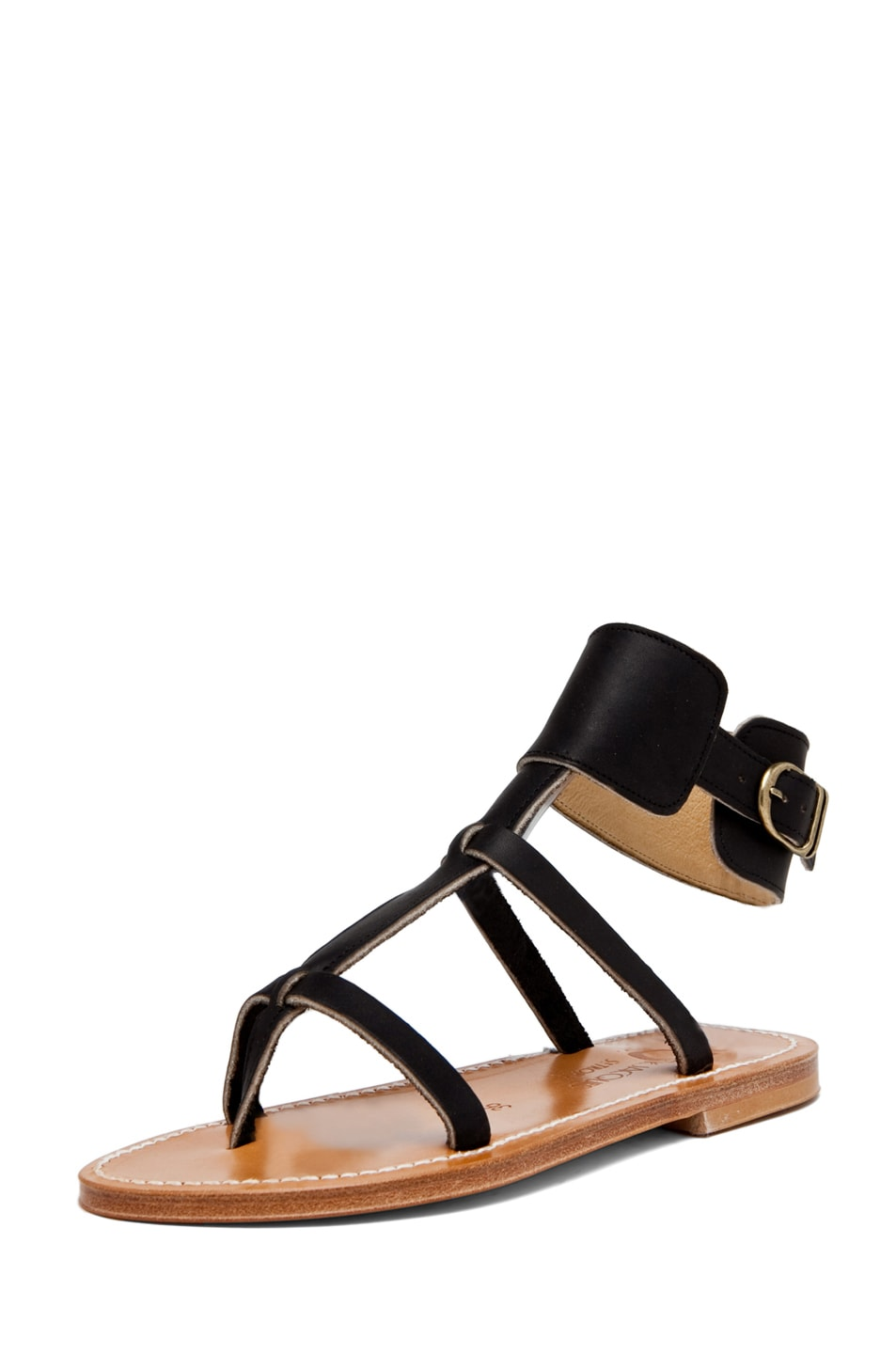 Image 2 of K. Jacques Caravelle Leather Sandals in Black