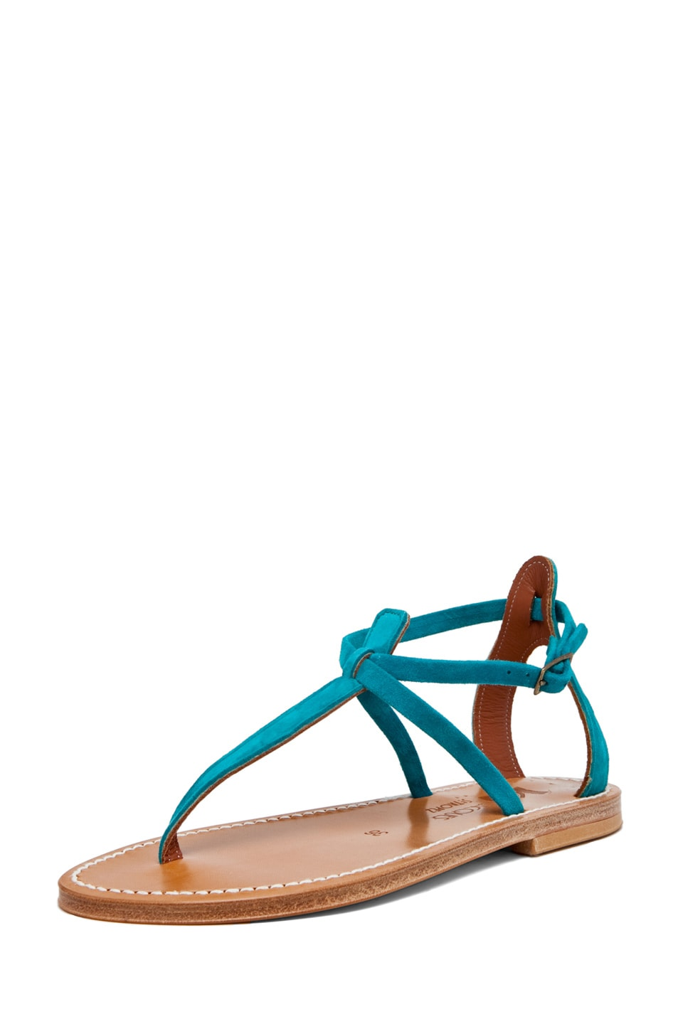 Image 2 of K. Jacques Buffon Suede Sandal in Turquoise
