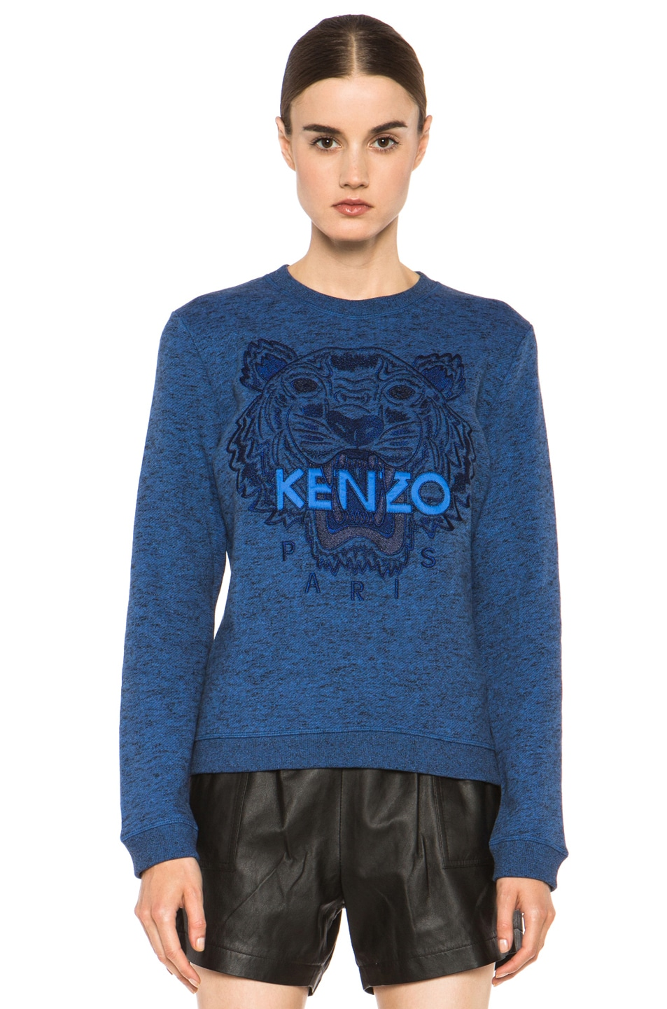 Image 1 of KENZO Embroidered Tiger Marl Sweatshirt in Bleu Roi