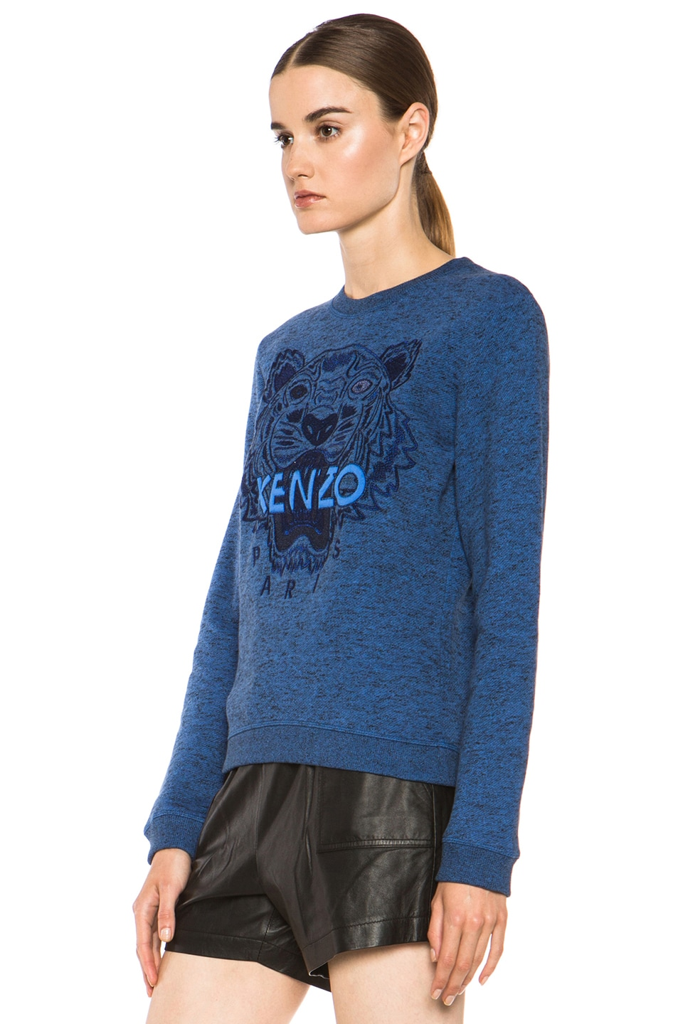 Image 2 of KENZO Embroidered Tiger Marl Sweatshirt in Bleu Roi