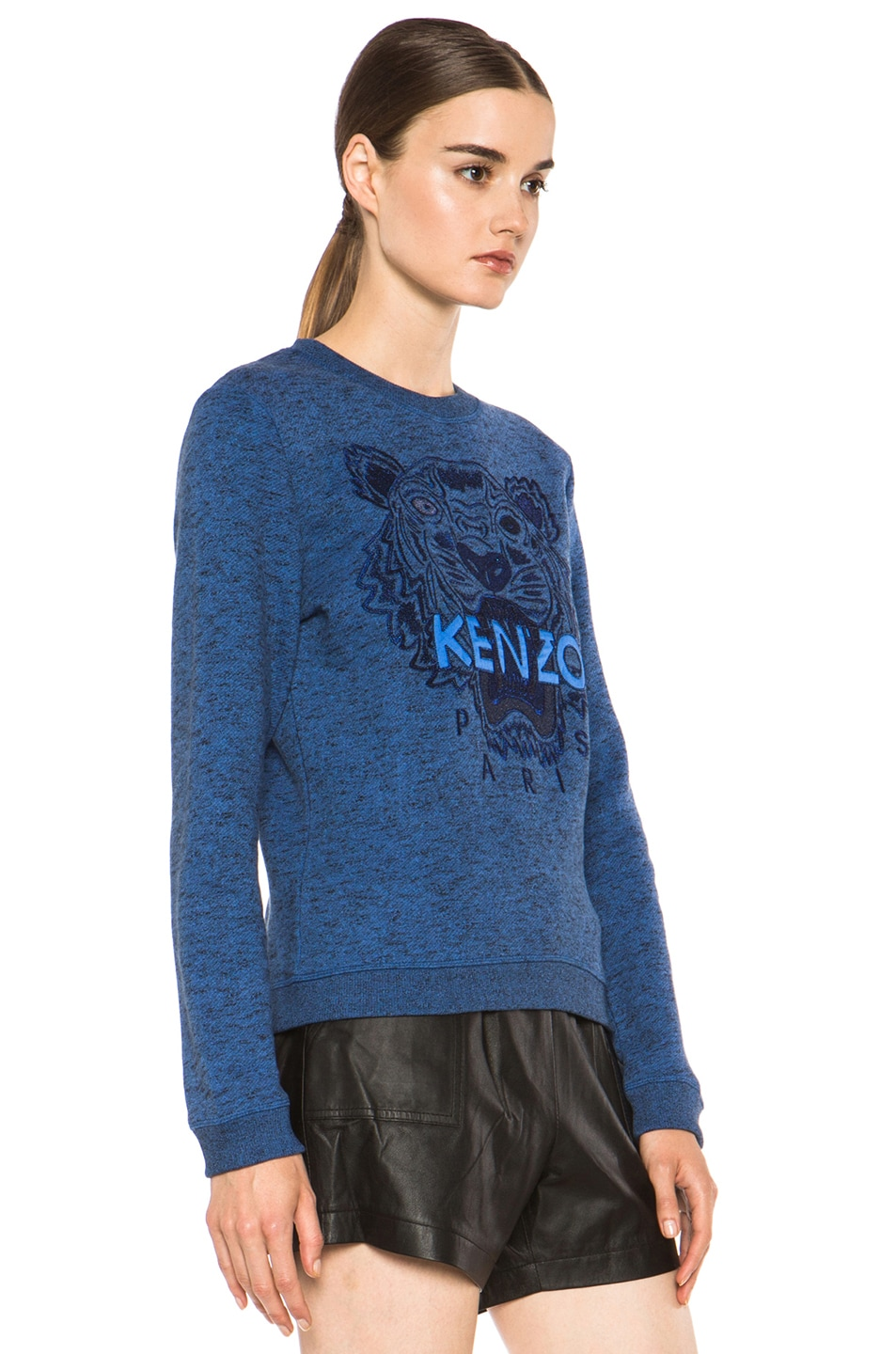 Image 3 of KENZO Embroidered Tiger Marl Sweatshirt in Bleu Roi
