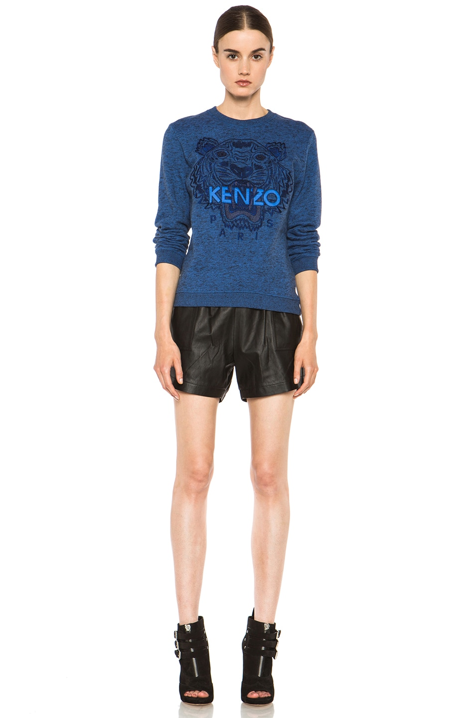 Image 5 of KENZO Embroidered Tiger Marl Sweatshirt in Bleu Roi