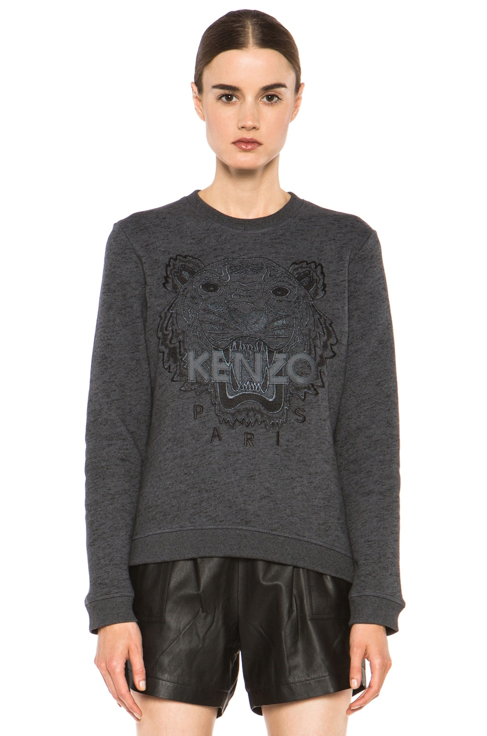 Image 1 of KENZO Embroidered Tiger Marl Sweatshirt in Gris Fonce