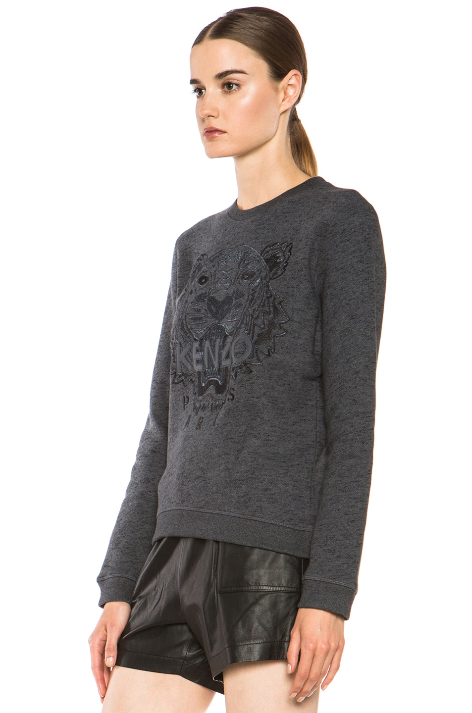 Image 2 of KENZO Embroidered Tiger Marl Sweatshirt in Gris Fonce