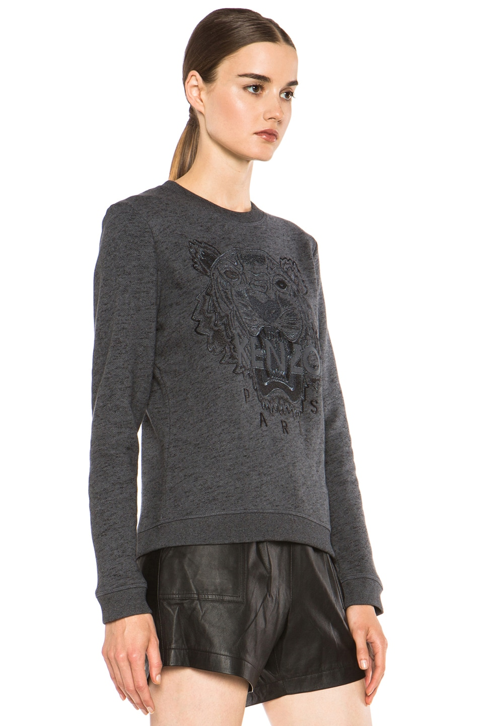 Image 3 of KENZO Embroidered Tiger Marl Sweatshirt in Gris Fonce