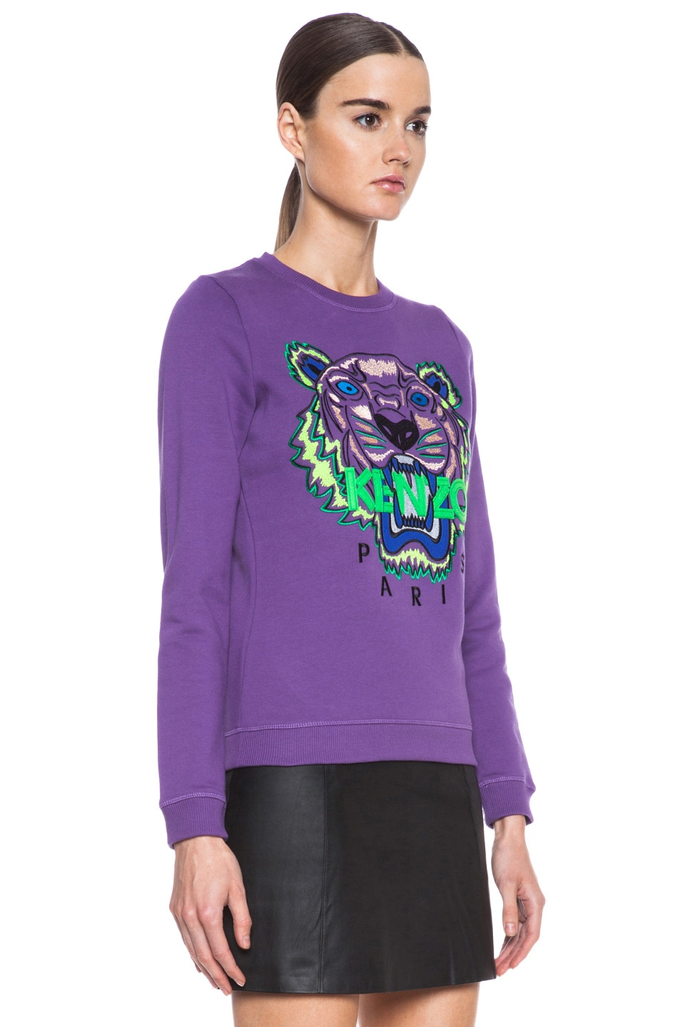 Image 3 of KENZO Embroidered Tiger Sweatshirt in Violet