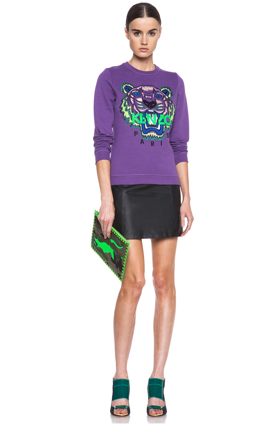 Image 5 of KENZO Embroidered Tiger Sweatshirt in Violet