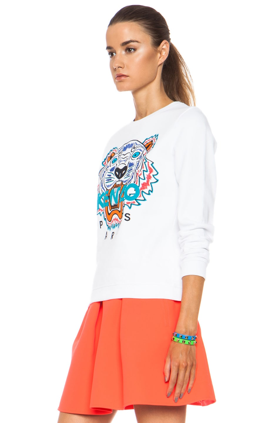 Image 2 of KENZO Embroidered Tiger Sweatshirt in White