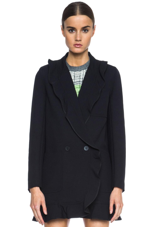 Image 2 of KENZO Ruffled Twill Tech Wool Coat in Black