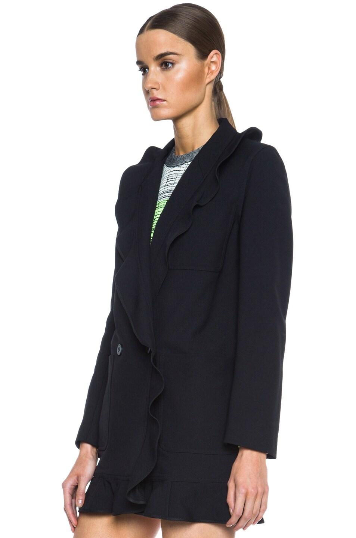 Image 3 of KENZO Ruffled Twill Tech Wool Coat in Black