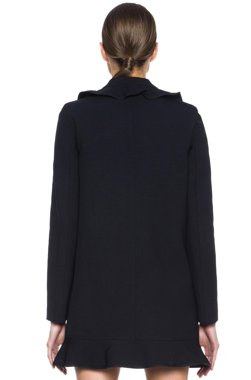 Image 5 of KENZO Ruffled Twill Tech Wool Coat in Black