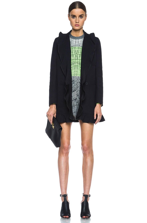Image 6 of KENZO Ruffled Twill Tech Wool Coat in Black