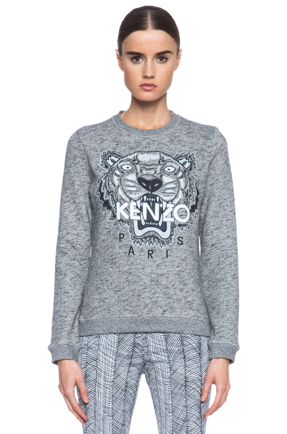 Image 1 of KENZO Embroidered Tiger Sweatshirt in Grey Marl