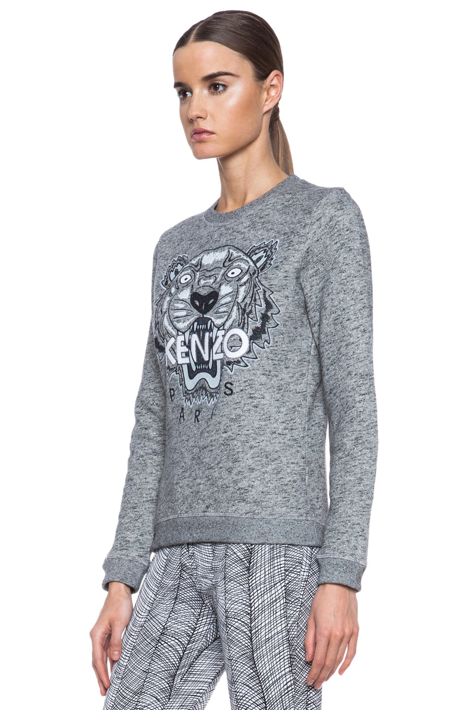 Image 2 of KENZO Embroidered Tiger Sweatshirt in Grey Marl