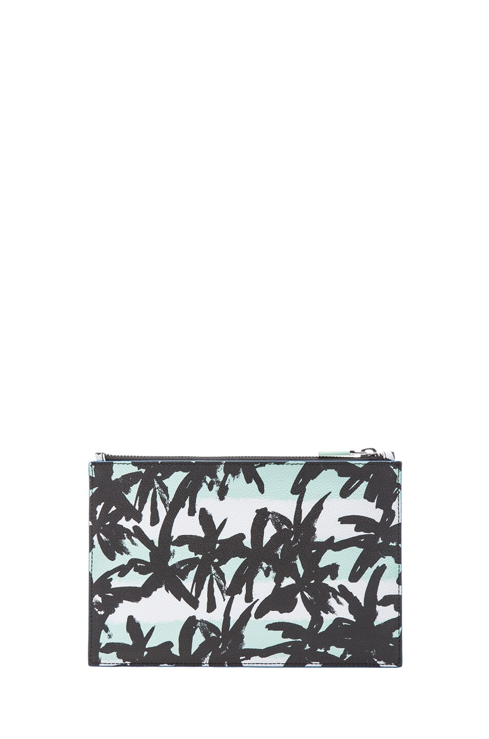Image 2 of KENZO Raindrop Palms & Stripes Clutch in Light green