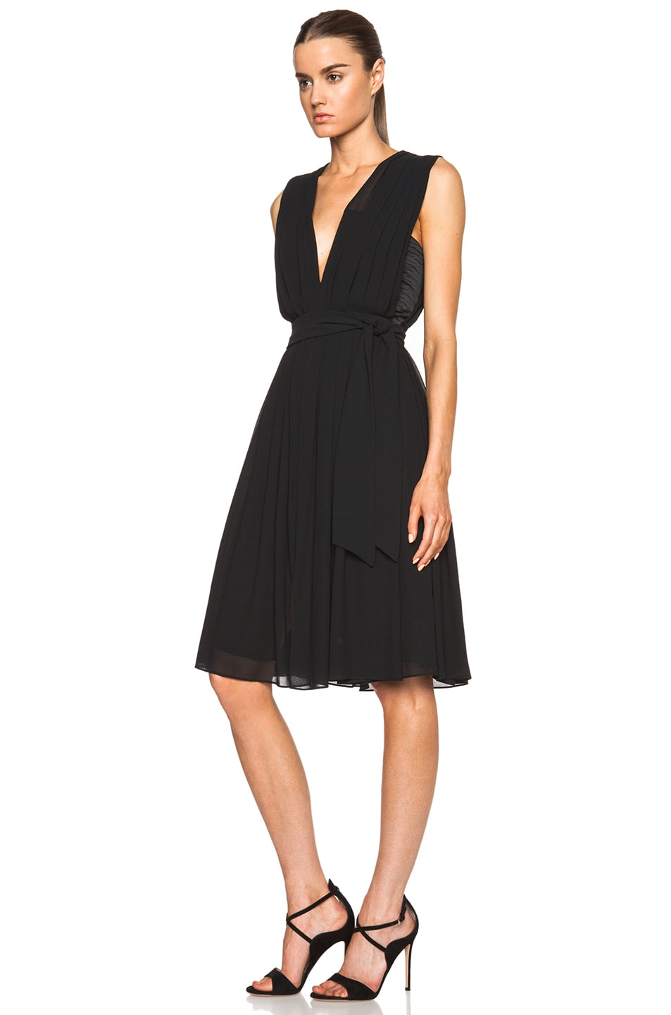 Image 2 of L'AGENCE Deep V Pleated Poly Dress in Black