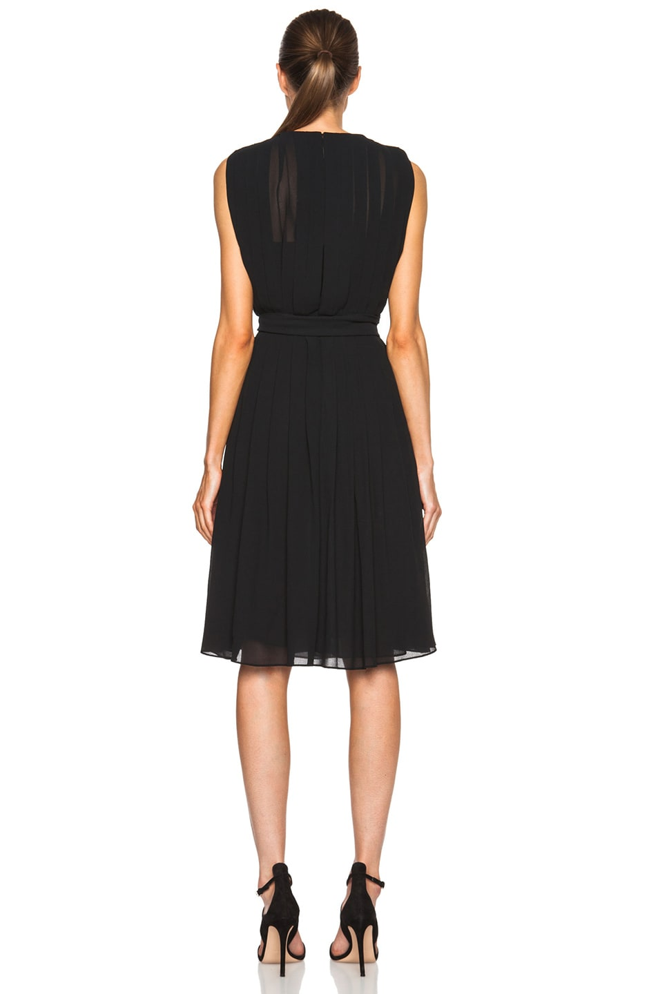 Image 4 of L'AGENCE Deep V Pleated Poly Dress in Black