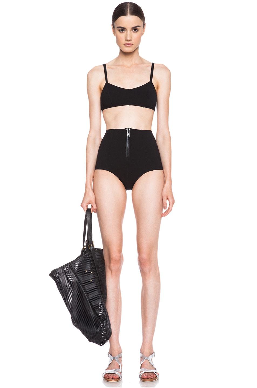 Image 1 of Lisa Marie Fernandez Genevieve Zip High Waist Nylon-Blend Bikini in Black Vintage