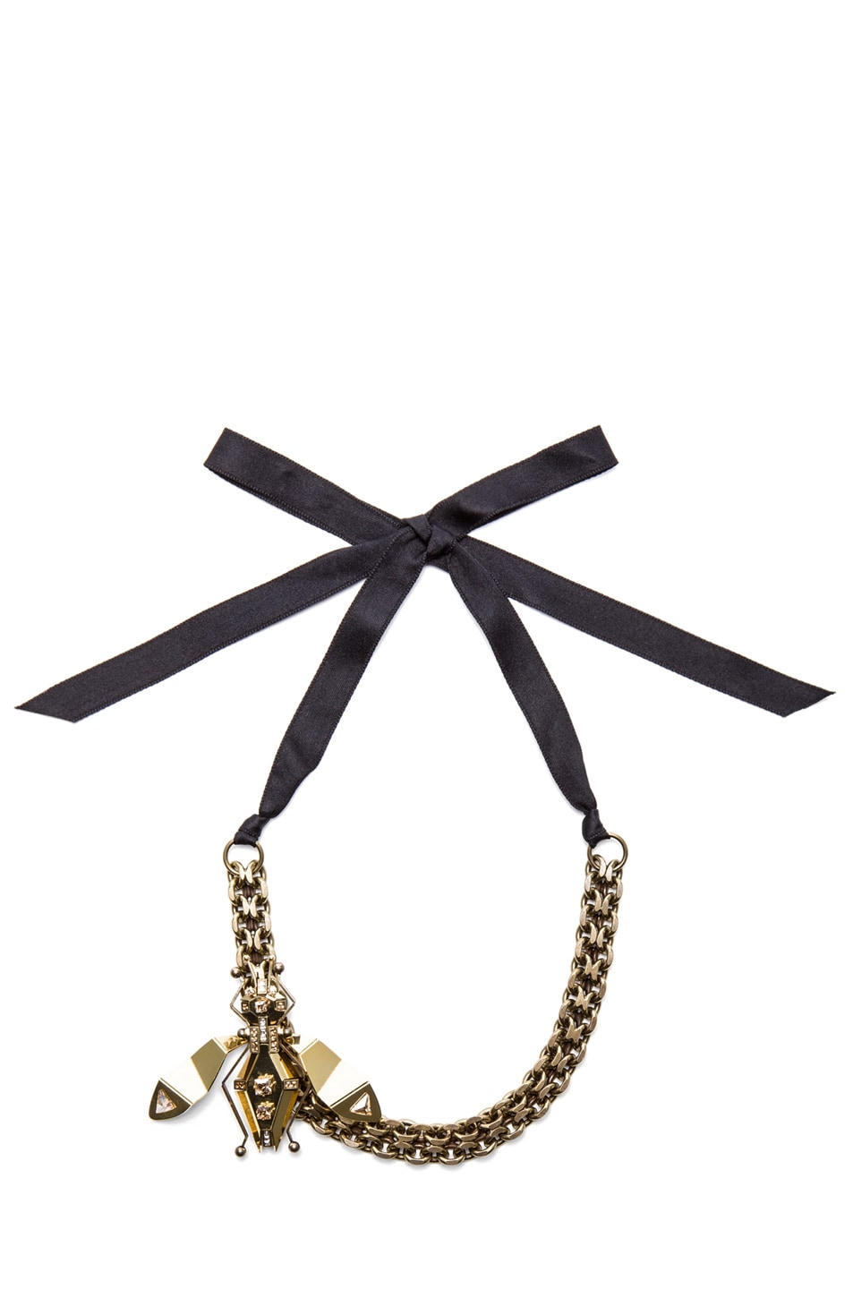 Image 1 of Lanvin Large Bug Antique Brass Necklace in Gold