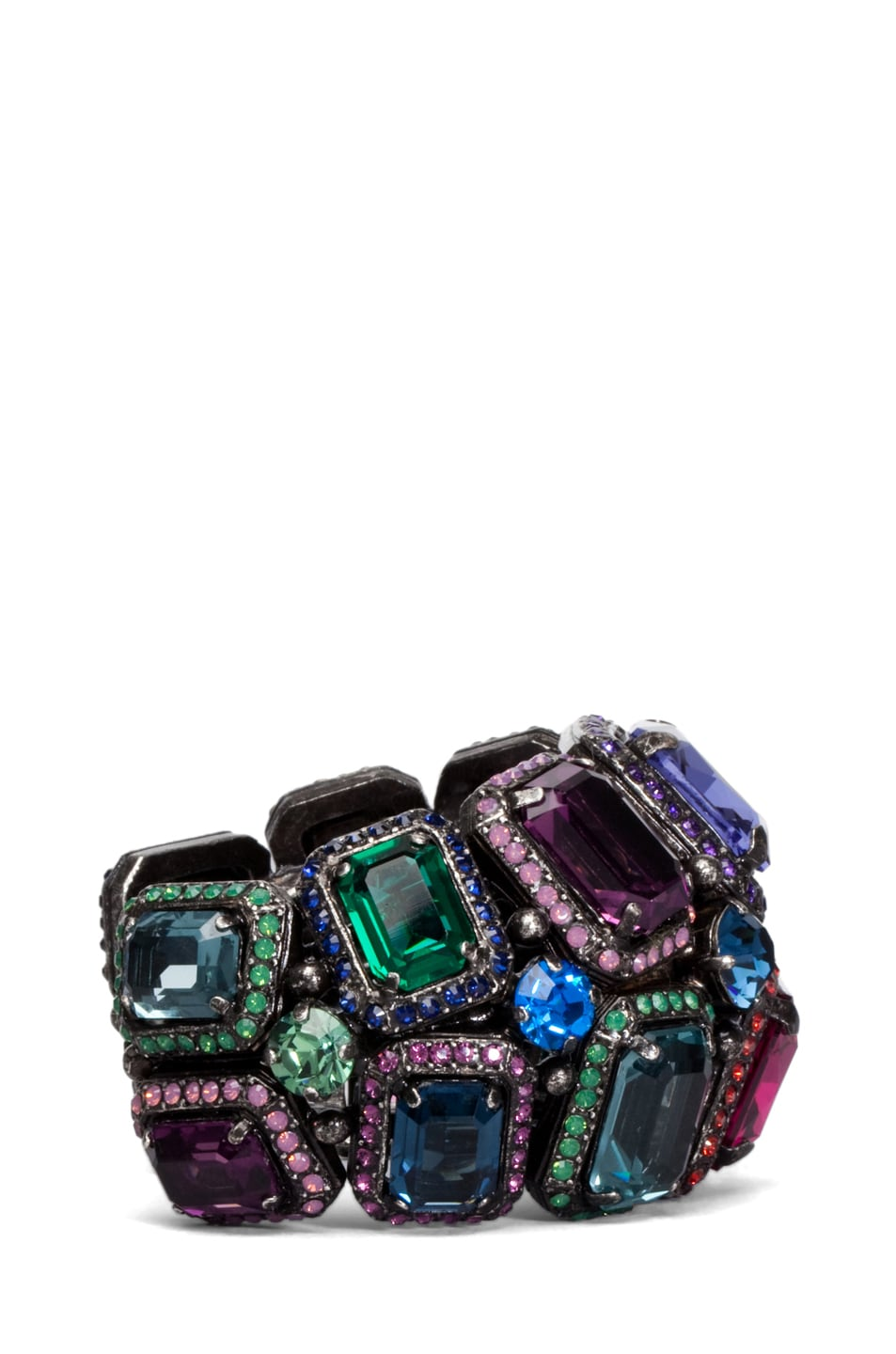 Image 2 of Lanvin Jeweled Cuff in Aged Silver