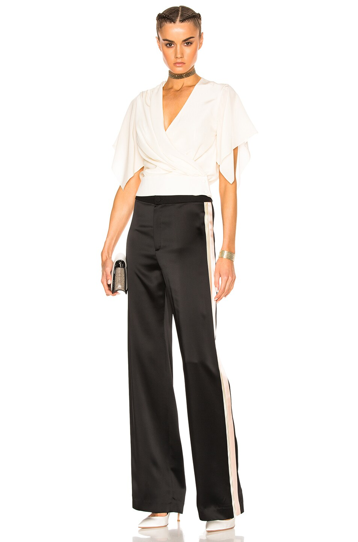 Image 6 of Lanvin Track Stripe Trousers in Black