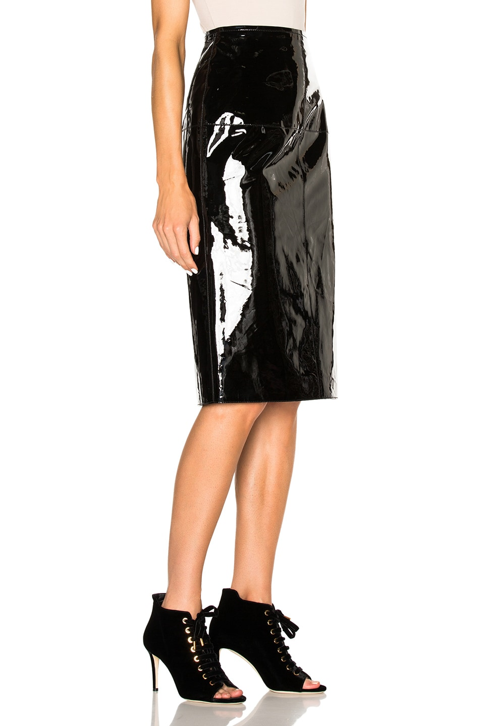 lanvin patent leather skirt in black fwrd