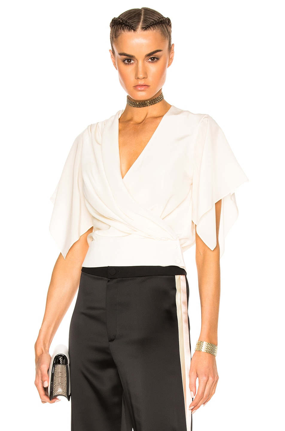 Image 1 of Lanvin Cross Over Top in Ivory