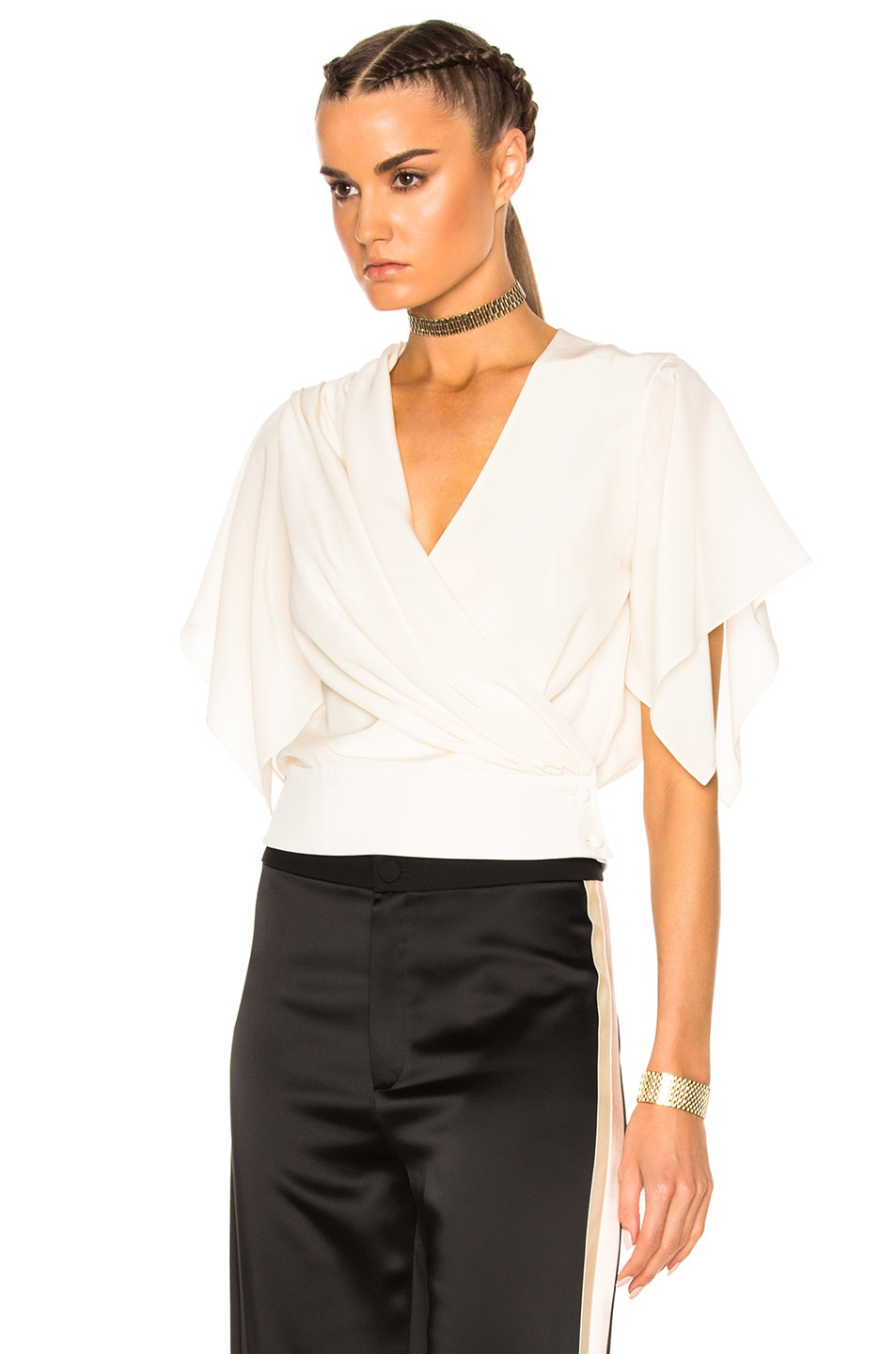 Image 2 of Lanvin Cross Over Top in Ivory