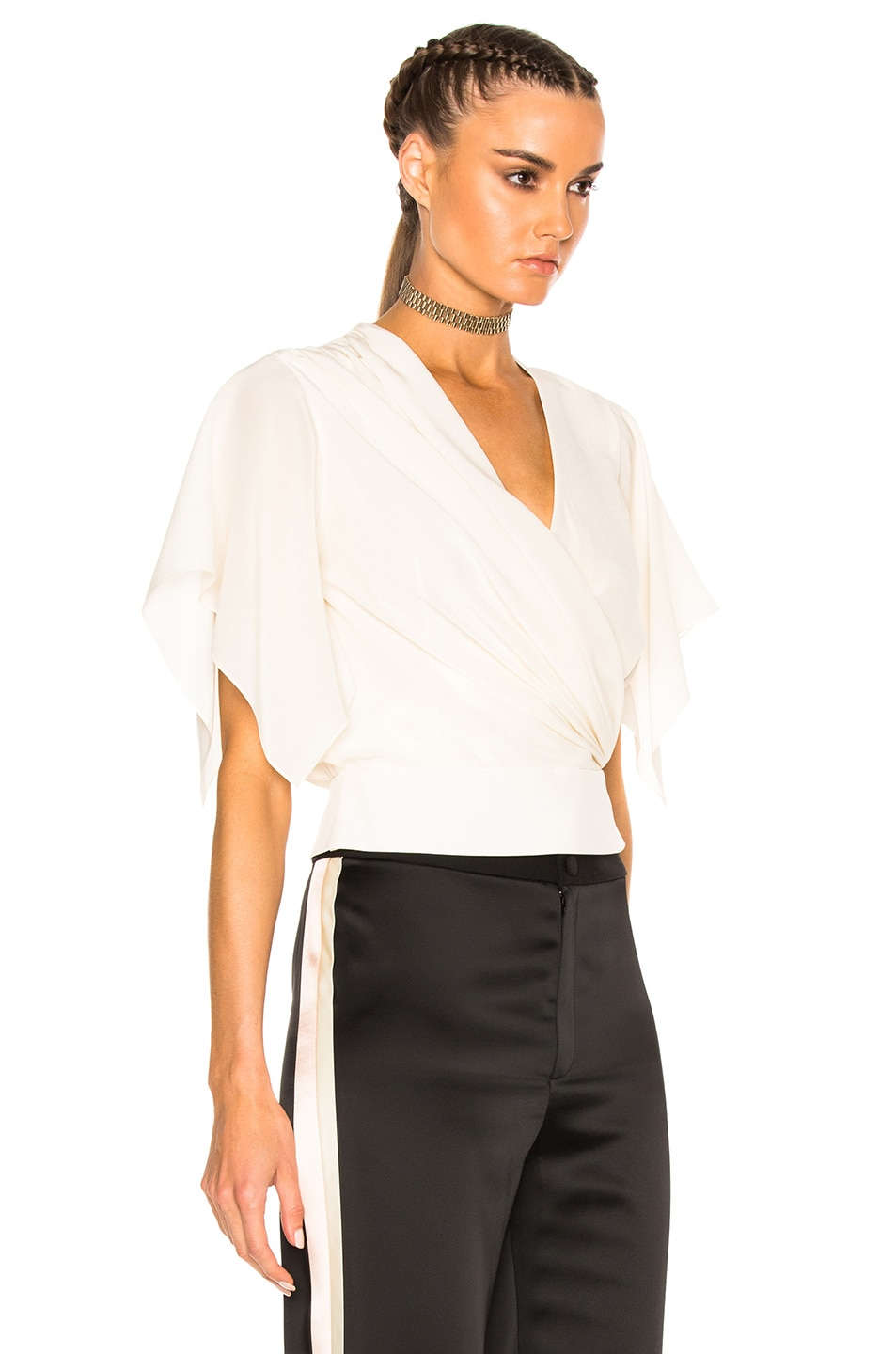 Image 3 of Lanvin Cross Over Top in Ivory