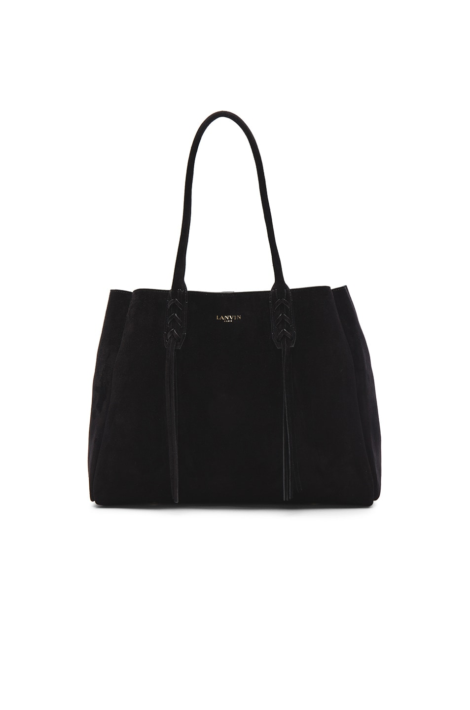 Image 1 of Lanvin Small Suede Shopper Bag in Black