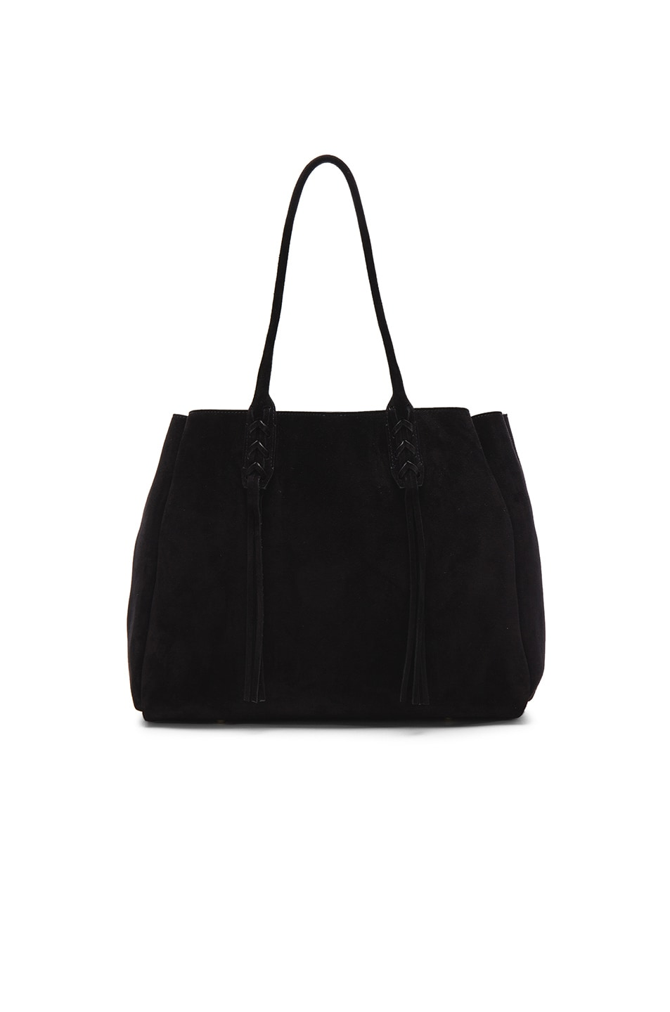 Image 3 of Lanvin Small Suede Shopper Bag in Black