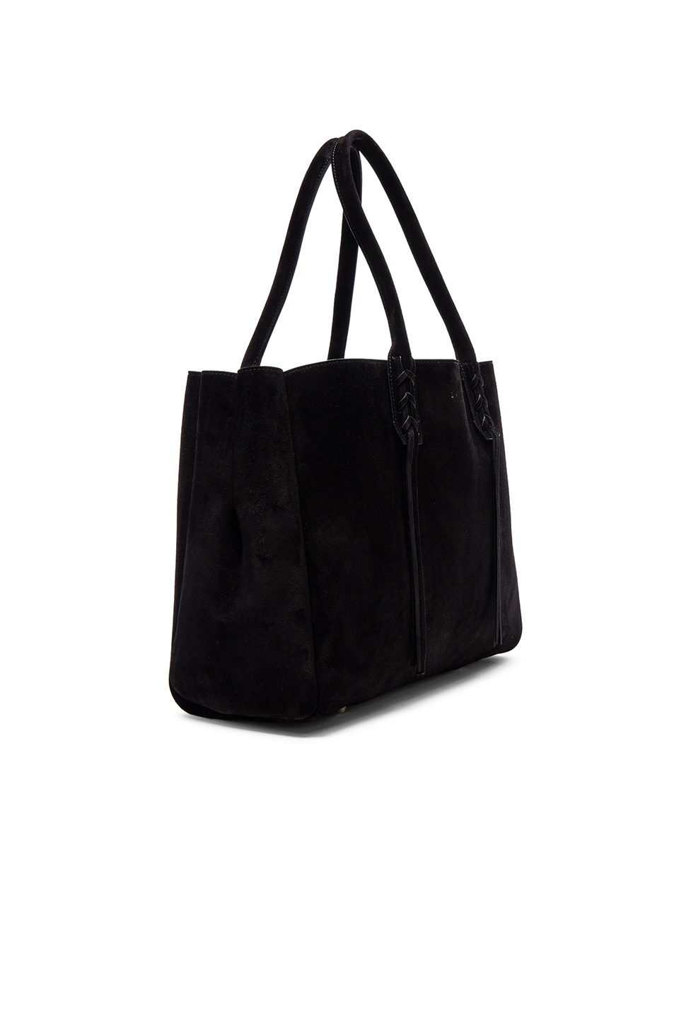 Image 4 of Lanvin Small Suede Shopper Bag in Black