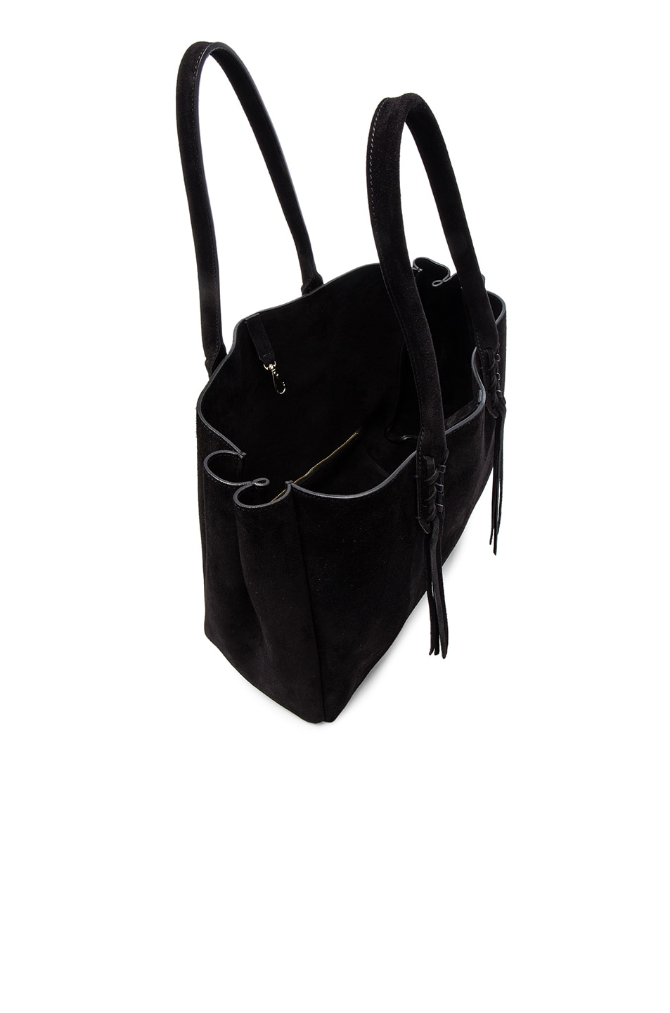Image 5 of Lanvin Small Suede Shopper Bag in Black