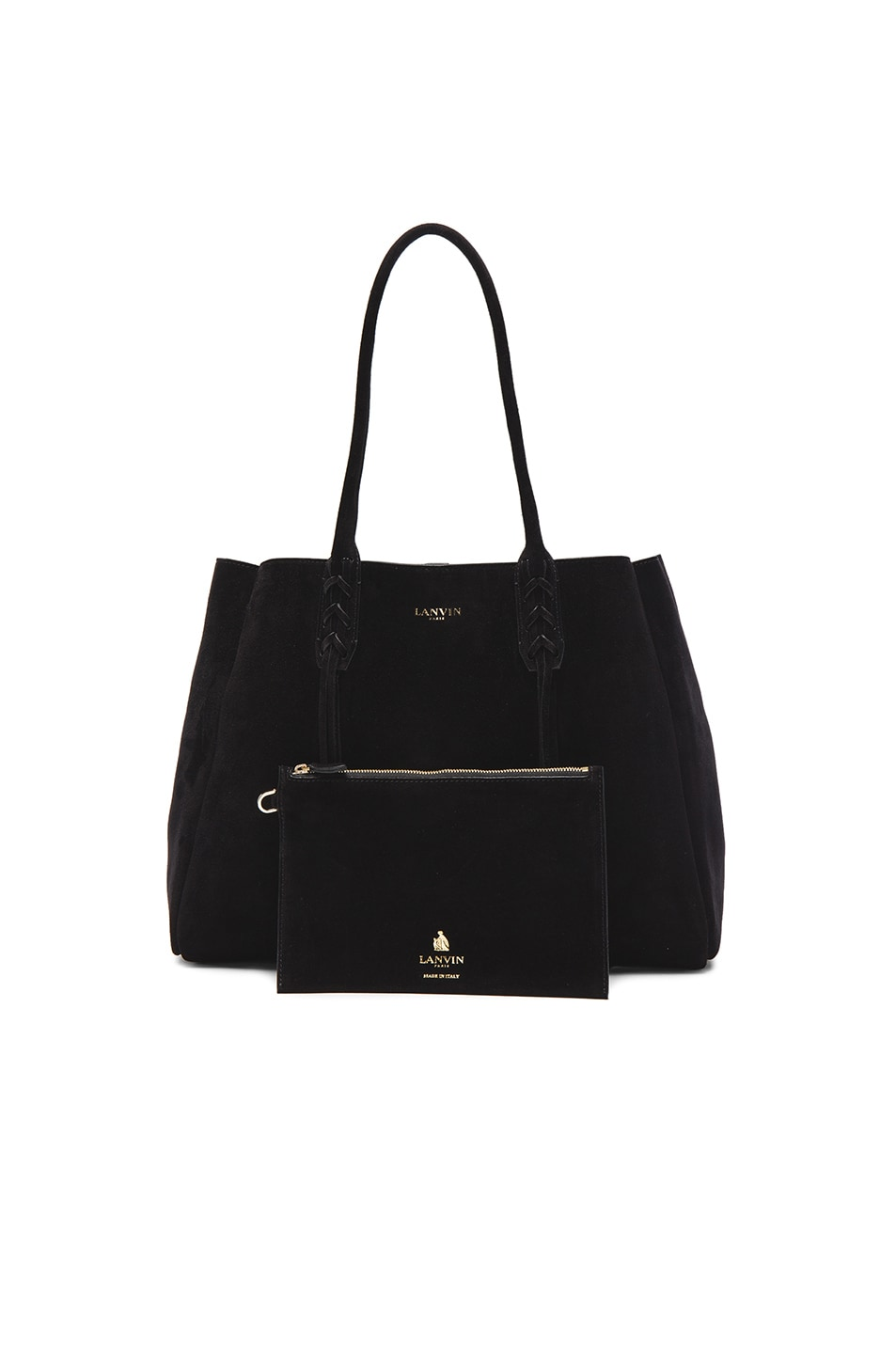 Image 6 of Lanvin Small Suede Shopper Bag in Black