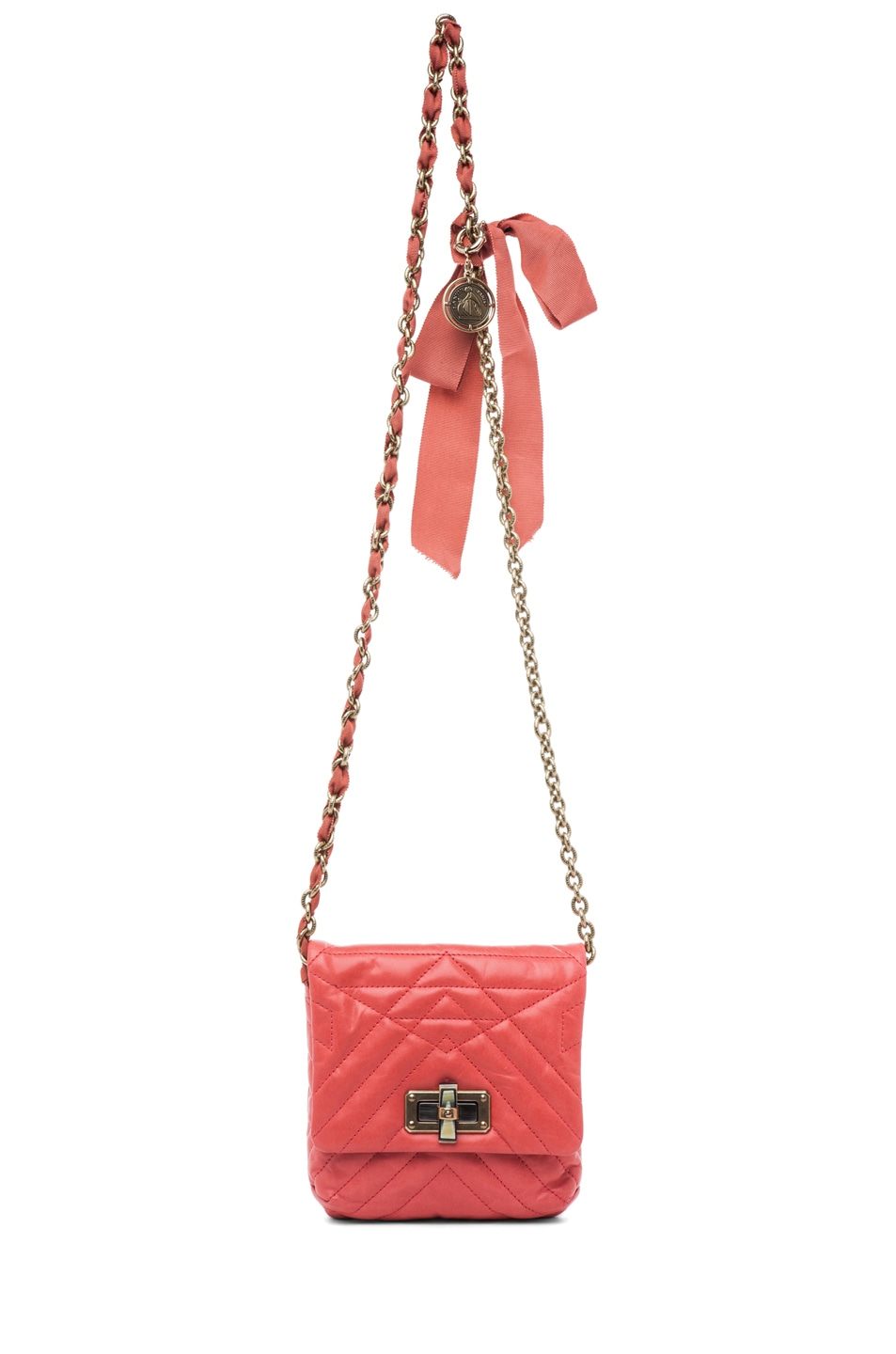Image 5 of Lanvin Mini Pop Happy Quilted Shoulder Bag in Pink