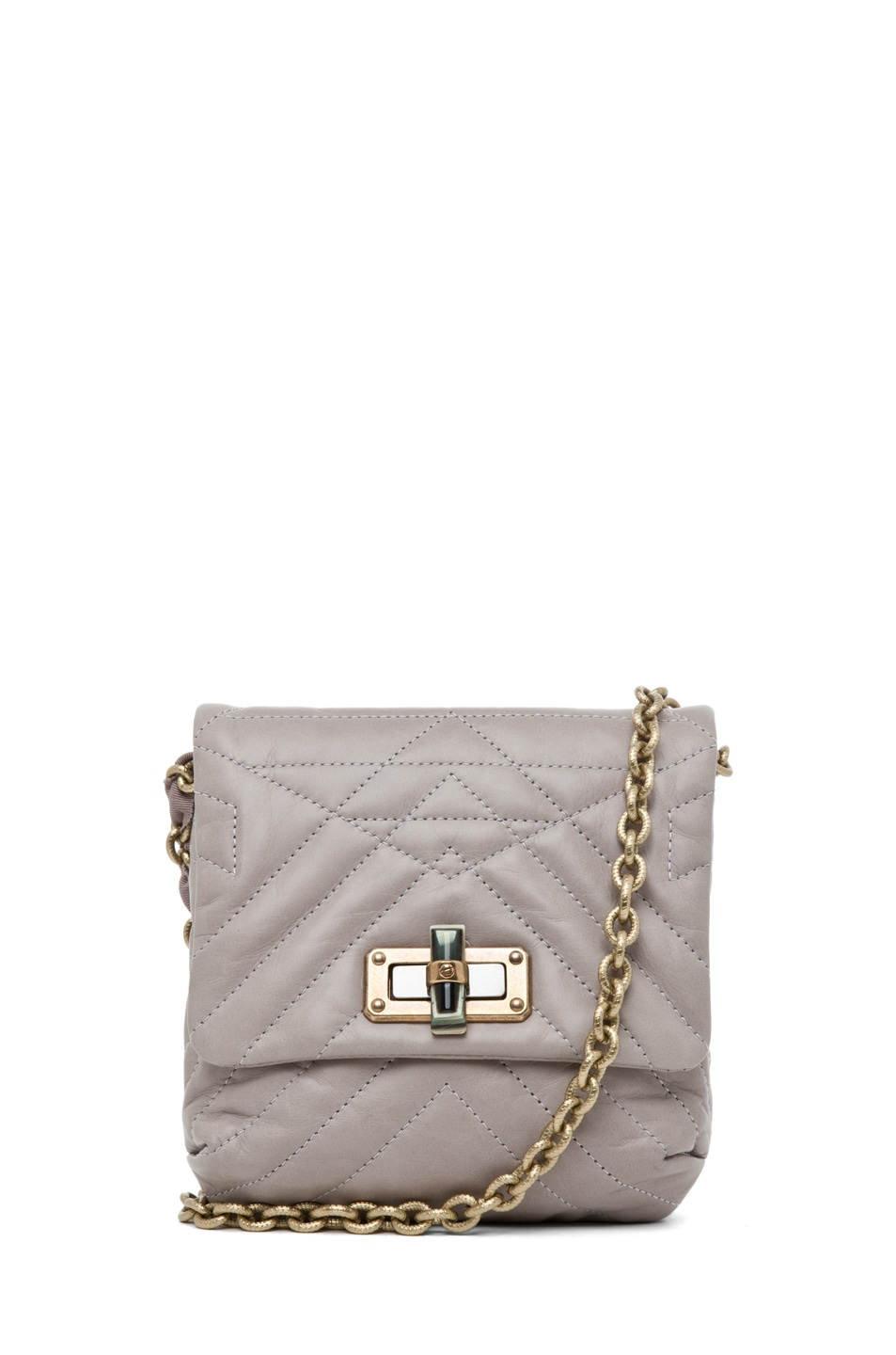 Image 1 of Lanvin Mini Pop Happy Quilted Shoulder Bag in Heather Grey