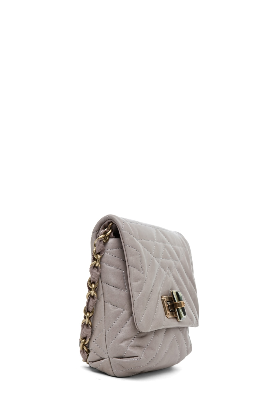 Image 3 of Lanvin Mini Pop Happy Quilted Shoulder Bag in Heather Grey