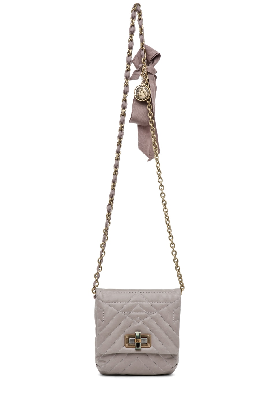 Image 5 of Lanvin Mini Pop Happy Quilted Shoulder Bag in Heather Grey