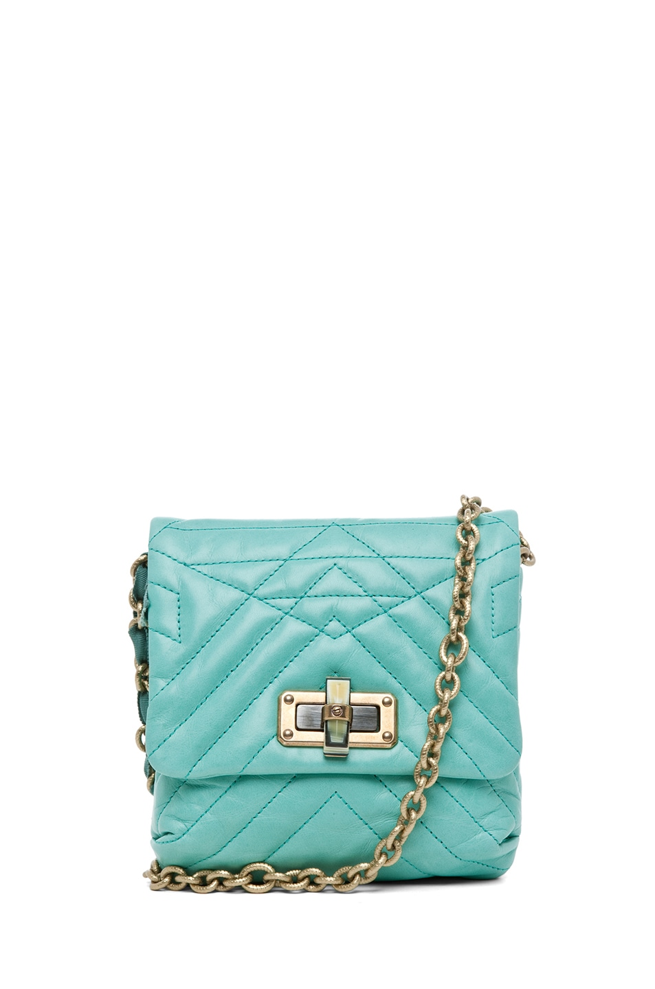 Image 1 of Lanvin Mini Pop Happy Quilted Shoulder Bag in Light Green