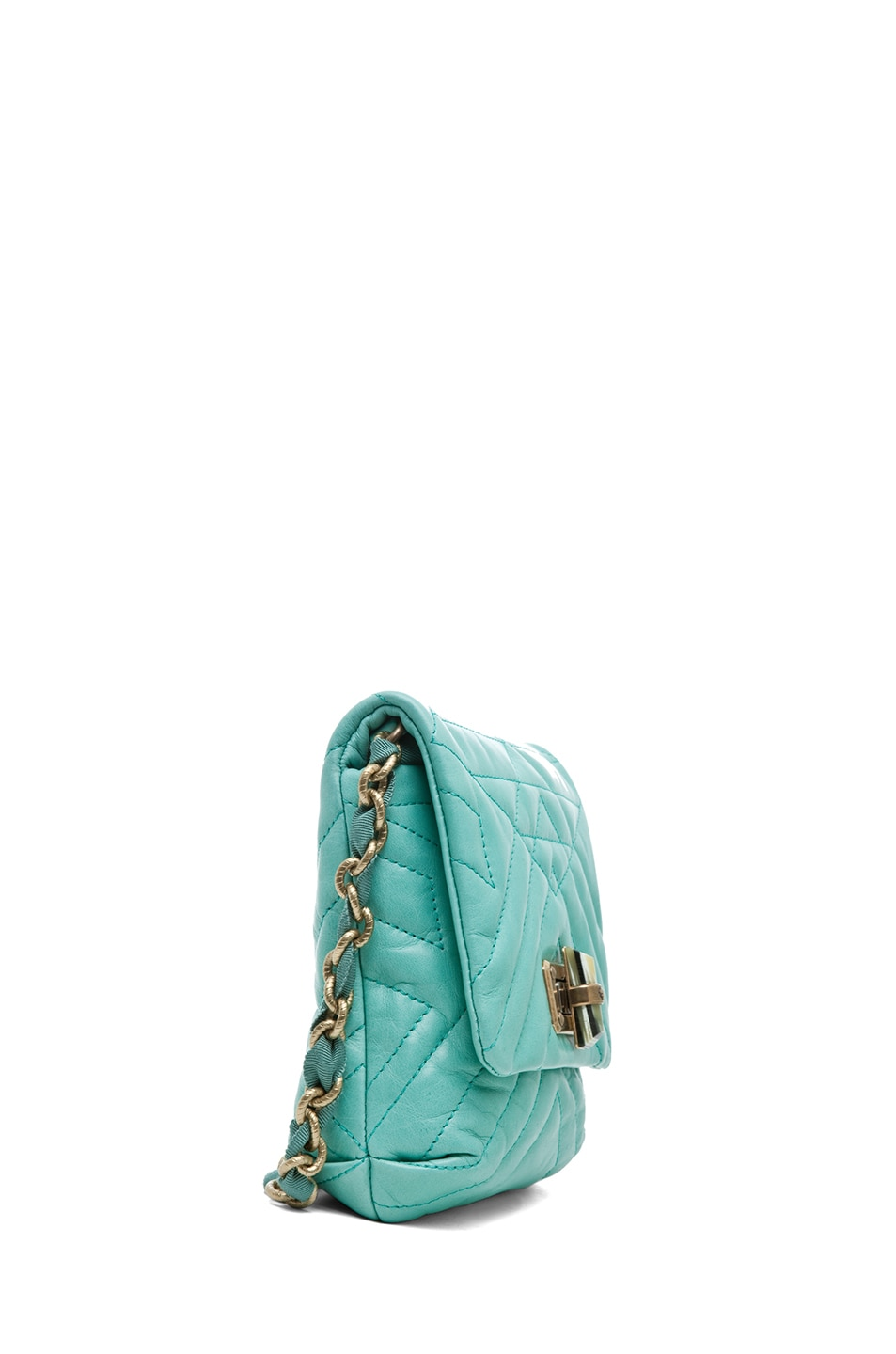 Image 3 of Lanvin Mini Pop Happy Quilted Shoulder Bag in Light Green