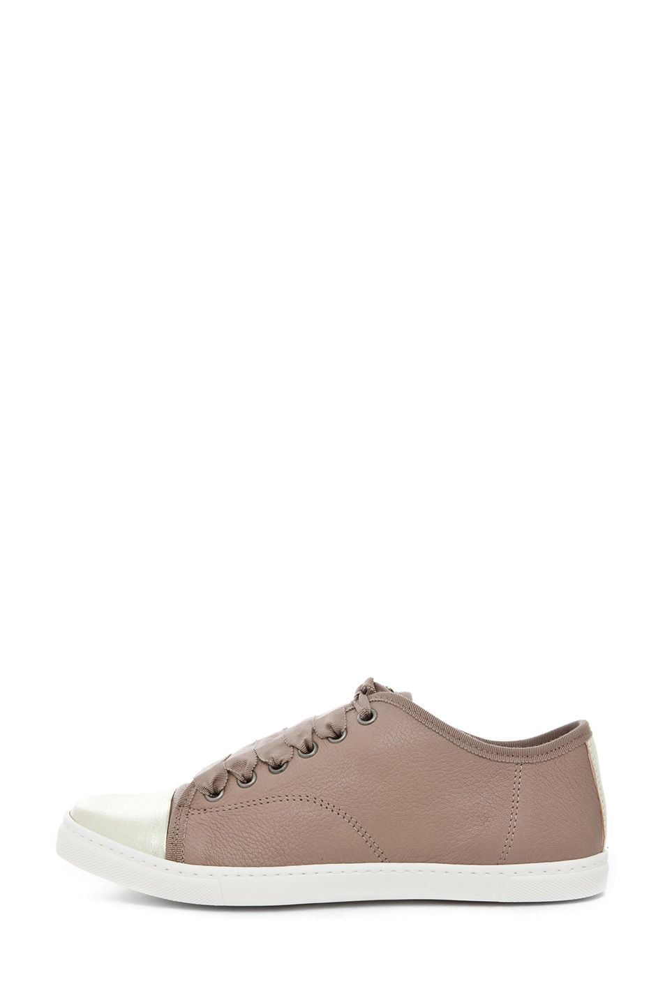 Image 1 of Lanvin Low Top Sneaker in Gold & Beige