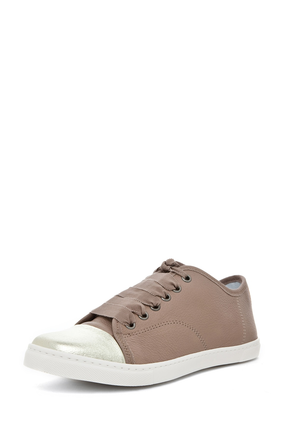 Image 2 of Lanvin Low Top Sneaker in Gold & Beige
