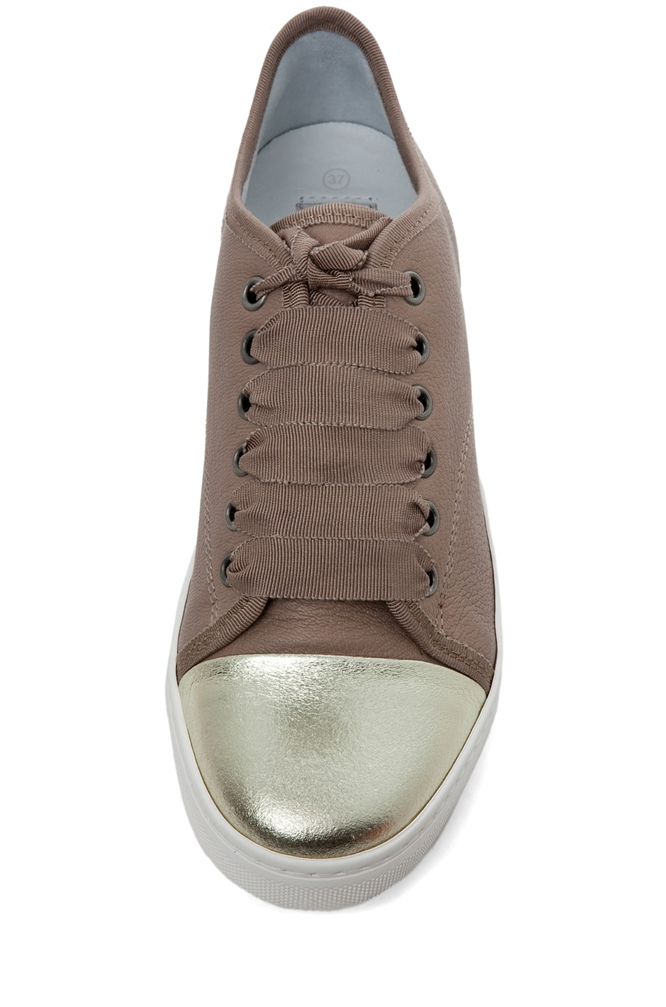 Image 4 of Lanvin Low Top Sneaker in Gold & Beige
