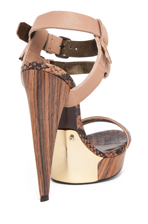 Image 3 of Lanvin Stacked Heel in Camel & Beige